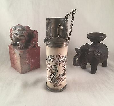 Antique Chinese Lot Opium Pipe Cast Iron Elephant Incense Foo Dog Puppy Stamp