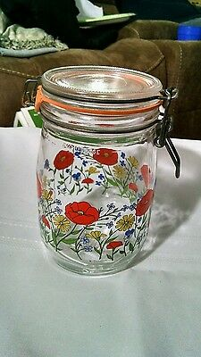 ARC france 1L lock lid cannister jar. orange poppies and wildflowers.