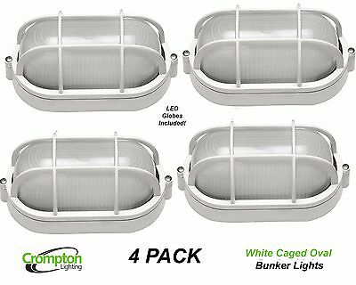 4 x Crompton LED White Oval Caged Exterior Bunker Outdoor Light EX7100AW