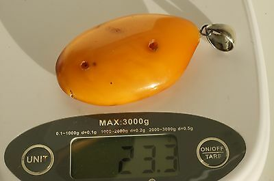 Antique Baltic Sea Amber Pendant 23 Grams, Amber Stone Beeswax Color.