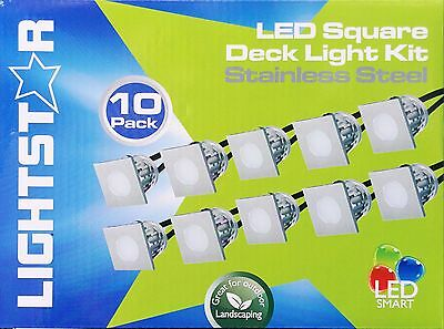 10 Piece Square LED Deck & Step Light Kit DIY Stainless Steel White Complete Kit