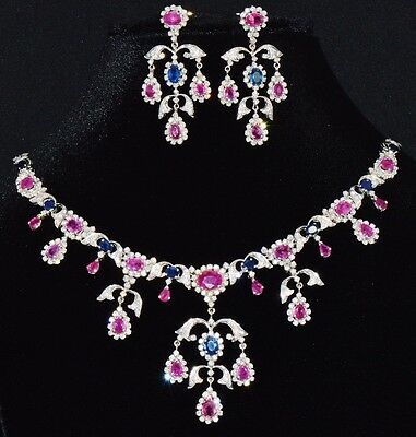Natural 31cts VS F Diamond Ruby Sapphire 18K Solid Gold Necklace Earrings Set