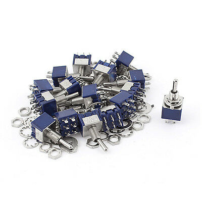 20Pcs AC 125V 6A ON-OFF-ON DPDT Locking Mini Toggle Switch Blue 6mm SP