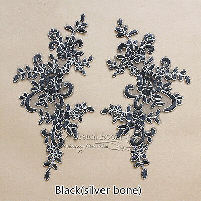 2PC Flower Embroidered Black/silver Lace Trim Sewing Applique Dress Decor F106