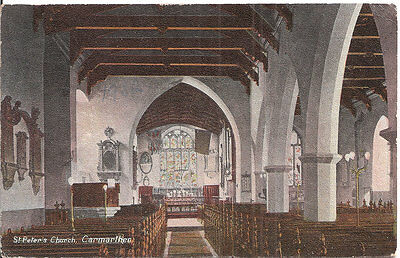 CARMARTHEN St Peter's Church - Vintage Postcard, Aldwych Series