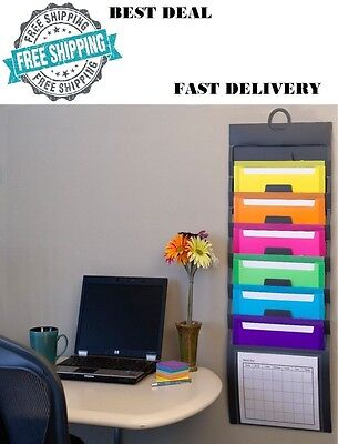 Cascading File Organizer Wall Mount Hanging Office Holder Removable Pockets Hang