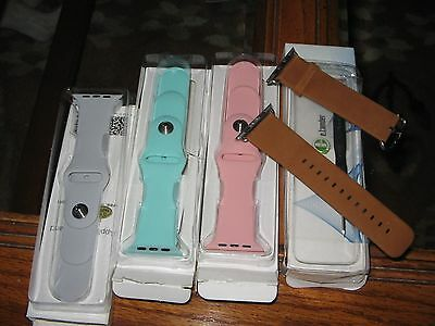 LOT of 4 NEW APPLE WATCH BANDS 3 ARE MOKO SILICONE 1 Is Elander Leather 42mm