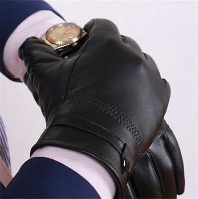 Men's Autum Winter Classic Genuine Leather Gloves Lambskin Mittens Driving Black