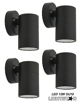 4 x Black LED Outdoor Exterior Fixed Cylinder Wall Light 240V 12W GU10