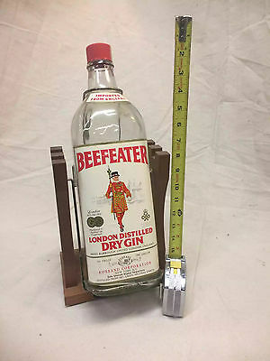 LARGE Beefeater Bottle on Wooden Pour Stand MAN CAVE