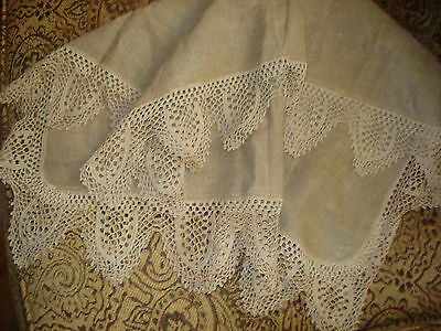 "Antique Brown Linen Cloth TABLE TOPPER with 4"" Crochet Lace Edge 26"" Square"