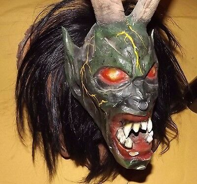 Nikolaus Krampus wood handcarved BLACK FOREST LINDEN wall Mask Gothic oddities