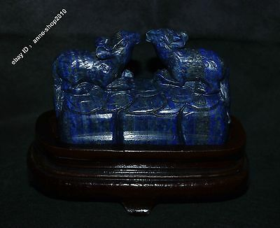 """5"""" Chinese 100% Natural Lapis lazuli Jade Hand-carved wealth mouse Rat Sculpture"""