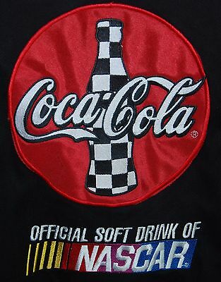 Vintage Nascar Official Soft Drink Coca Cola Jacket Bomber Black Red Ashley Xl