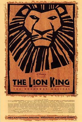 The Lion King The Broadway Musical (Broadway) Movie POSTER, 27 x 40 A, LICENSED