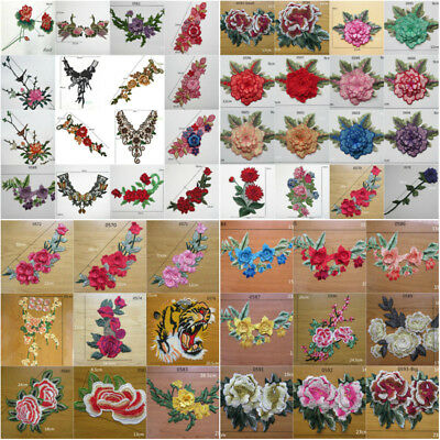Lace Embroidered Neckline Sew on Patch Badge Collar Trim Clothes Fabric Applique