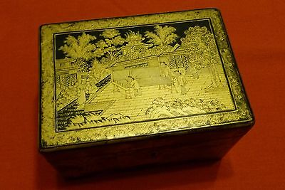 Antique Chinese Export Gilt Black Lacquer Box Tea Caddy with Pewter Canister