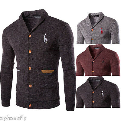 New Mens Knitted Cardigan Collar Button Pullover Slim Fit Sweater Jacket Coat