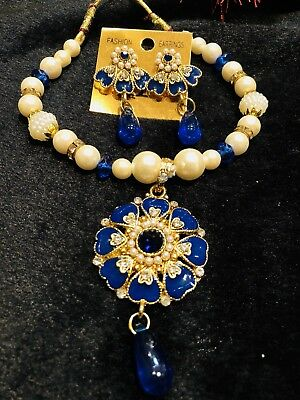 Bollywood Kids Girls Indian Necklace Earrings Jewellery Beads White Blue Set B16