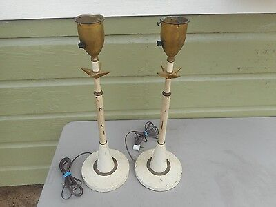 """** Pair Vintage Mid Century Retro White Brass Star Tall 22"""" Table Lamps **"""