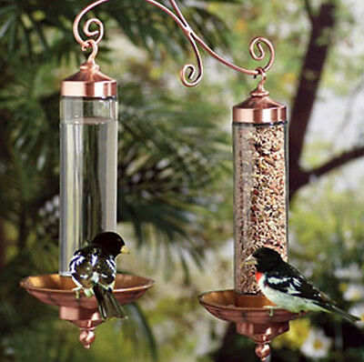 Wild Bird Feeder Water and Seed Together Copper Finish Garden Trees Hanging