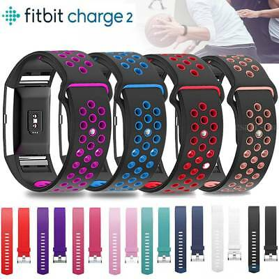 Genuine Sports Silicone Leather Replacement Watch Band Strap For Fitbit Charge 2