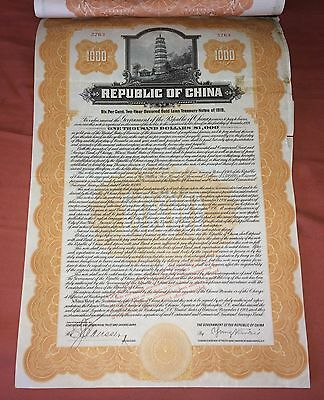 $1000 Republic of China 6% Secured Gold Loan Treasury Note of 1919