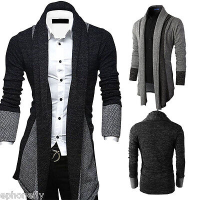 Stylish Men Black Knit Cardigan Jacket Slim Fit Long Sleeve Casual Sweater Coat