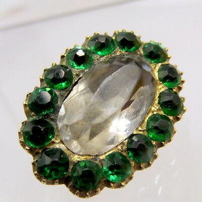 Georgian gold and Emerald Foil back paste Lace pin Brooch