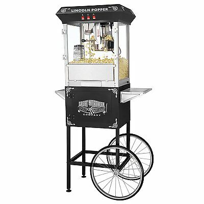 Popcorn Maker with Cart 8 oz Theater Style Popper Party Popcorn Machine 3 Gallon