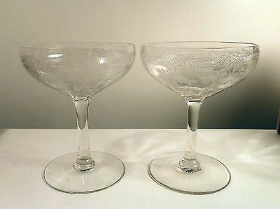 Two FOSTORIA Champaign Wine Glasses 1950s Pattern ELEGANT