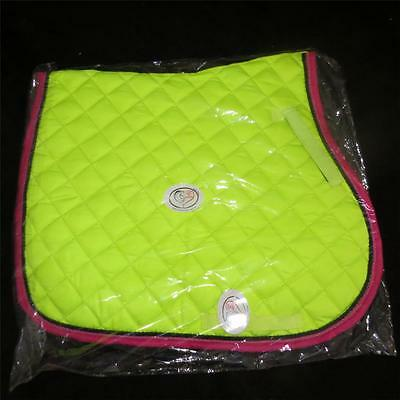 LOVE MY HORSE General Purpose Quilted Saddle Pad Cloth Full Size Lime / Rasb