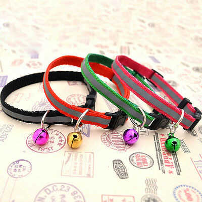 Pet Dog Puppy Cat Kitten Glossy Reflective Collar Safety Buckle with Bell liau