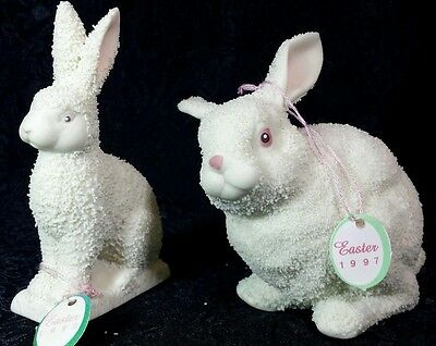 Dept 56 Rabbit Figurines Set of 2 1992 1997 Bunnies Easter Bunny