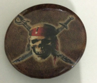 PIRATES OF THE CARIBBEAN 1.5-inch BADGE Button Jolly Roger NEW OFFICIAL MERCH