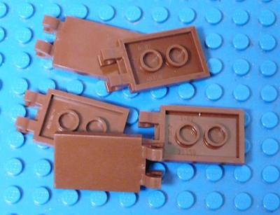 LEGO  Tile, Modified 2 x 3 with 2 Clips Assorted Reddish Brown x5PC