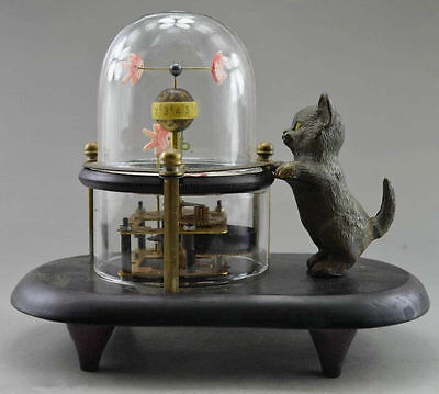Decorative old cat hand-carved bronze fish can use mechanical clock &16