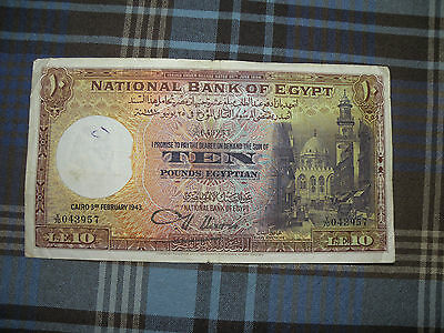National Bank of Egypt. 10 Egyptian Pound note. 3rd February 1943 CAIRO. 043957
