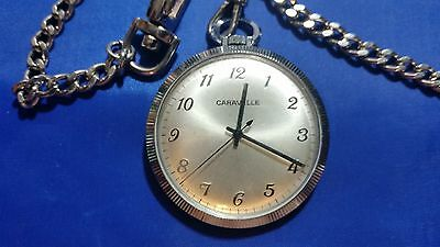 Caravelle Open Face Pocket Watch with Chain