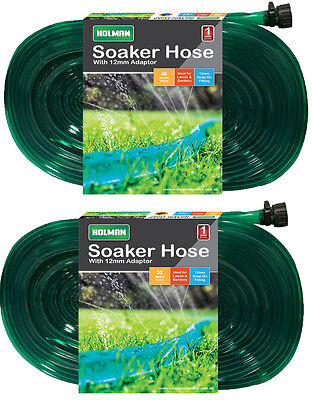 2 x Holman 30 Metre Soaker / Weep Hose - with Connector - Ready to Use Sprinkler