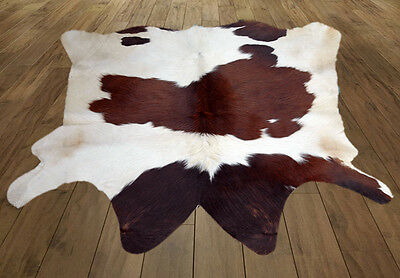 """Western Natural Brown & White (41"""" X 40"""" ) Leather Rug / Skin KCCH- 946"""
