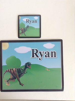 Personalised Placemat and Coaster Set - Dinosaur  Design