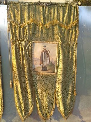Important Large Antique Religious Silk Embroidery Needlework 1850 french church