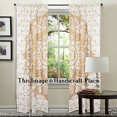 Gold Ombre Mandala Indian Curtain Hippie Wall Hanging Door Window Curtain 2 PC