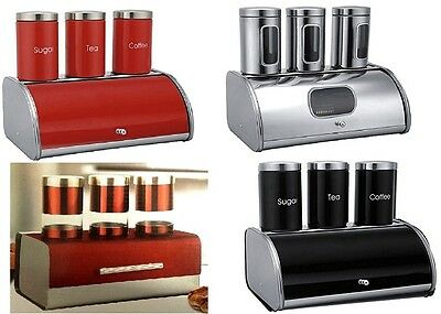 Bread Bin Set With Canister Set Tea Coffee Sugar Jar Pot 4 Pcs Stainless Steel