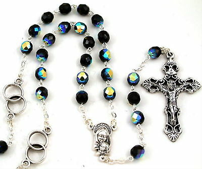 New Made In Italy Black Aurora Crystal & Silver Wedding Ring Groom's Rosary