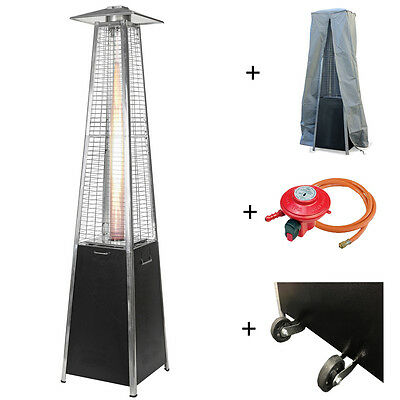 Commercial Quality Pyramid Real Flame Gas Patio Heater + Wheels Cover Reg & Hose