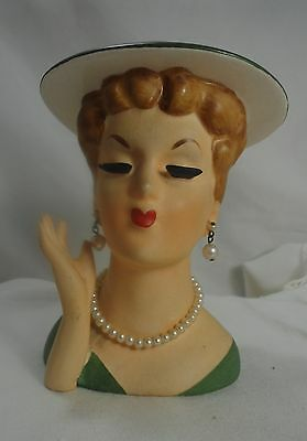 Lady Head Vase Planter-Napco #C3307B-Japan-Hanging Pearl Earrings/Pearl Necklace