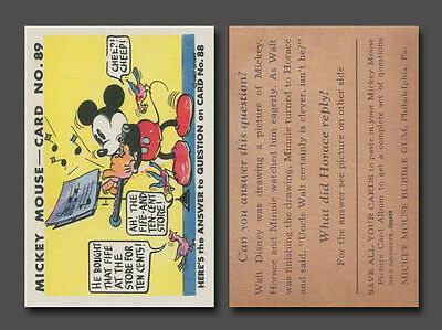 Mickey Mouse Card #89, 1935 Gum, Inc. R89  Reprint Mint Condition