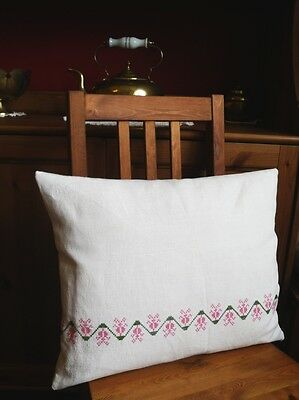 Antique Hungarian  Linen Flax Cross stitched Pillowcase Pillow cover Sham